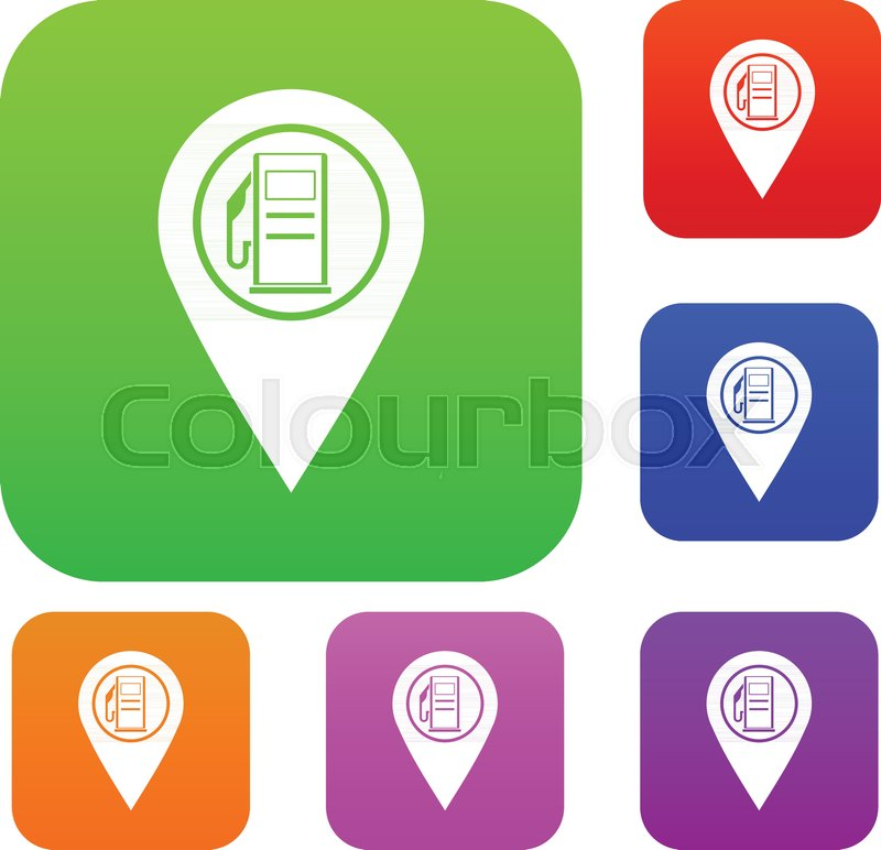 Map Pointer With Gas Station Symbol Set Icon Color In Flat Style