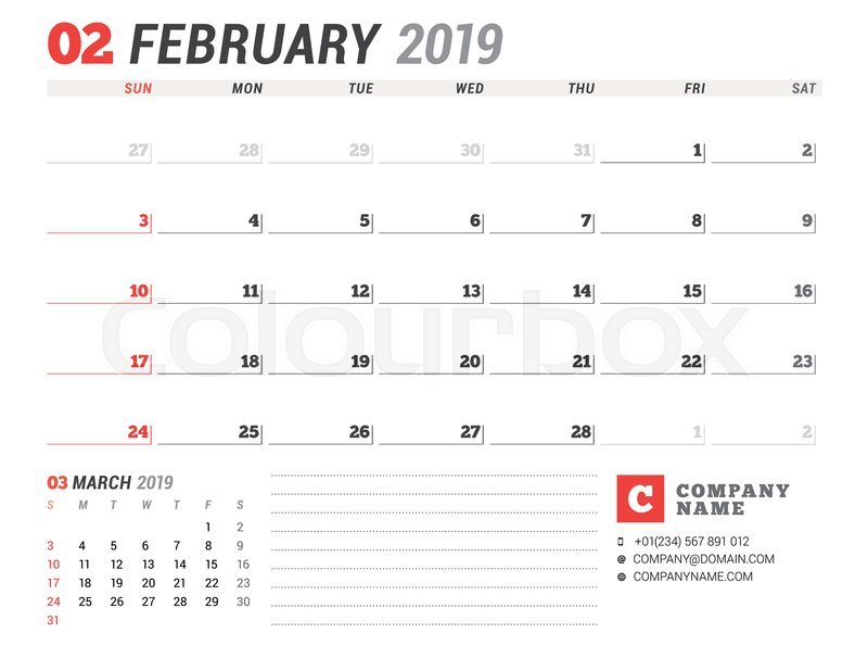 Calendar template for february 2019 business planner stationery calendar template for february 2019 business planner stationery design week starts on sunday 2 months on the page vector illustration stock vector friedricerecipe Choice Image