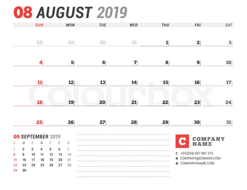 Calendar Template For August 2019 Business Planner Stationery