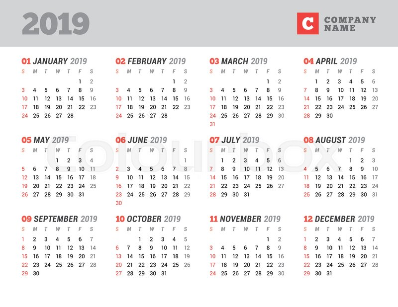 Calendar Template For 2019 Year Stationery Design Week Starts On