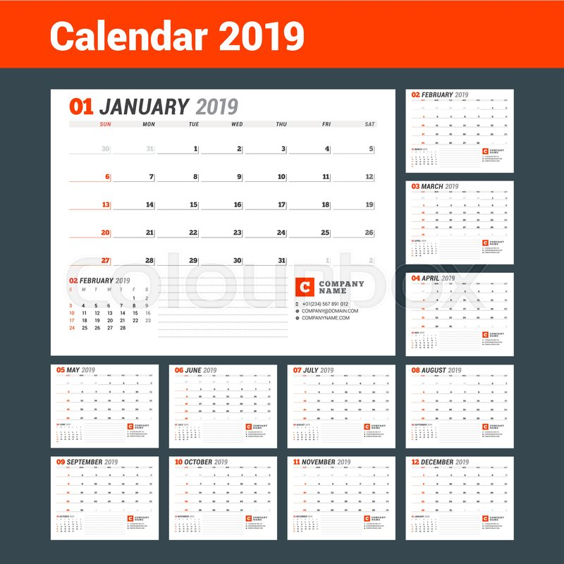 Calendar template for 2019 year business planner stationery design calendar template for 2019 year business planner stationery design week starts on sunday set of 12 months vector illustration stock vector friedricerecipe Choice Image