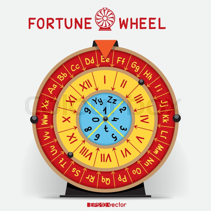 Wheel of Fortune template with letters     | Stock vector