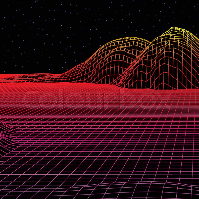 Landscape with wireframe grid of 80s     | Stock vector