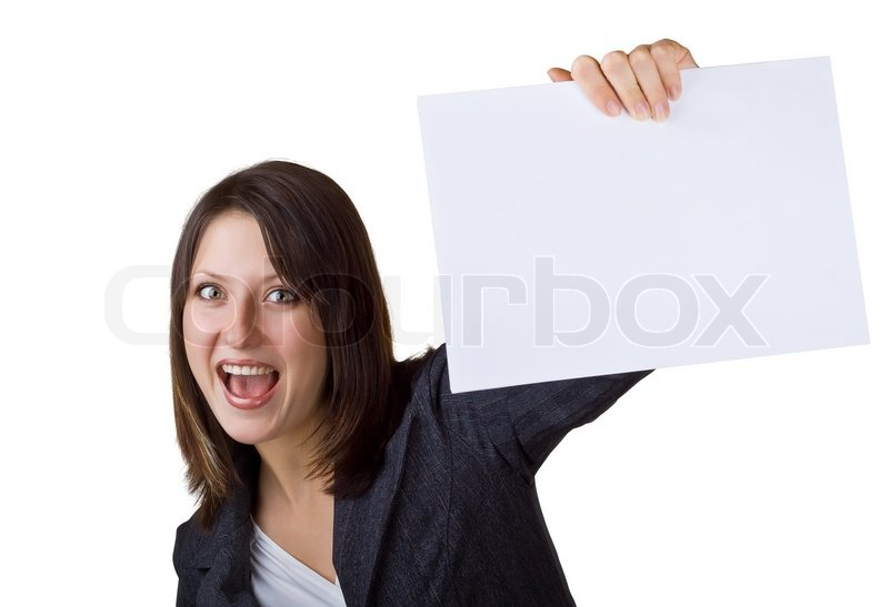 Stock image of 'Business woman holding a blank sign, isolated on white background'