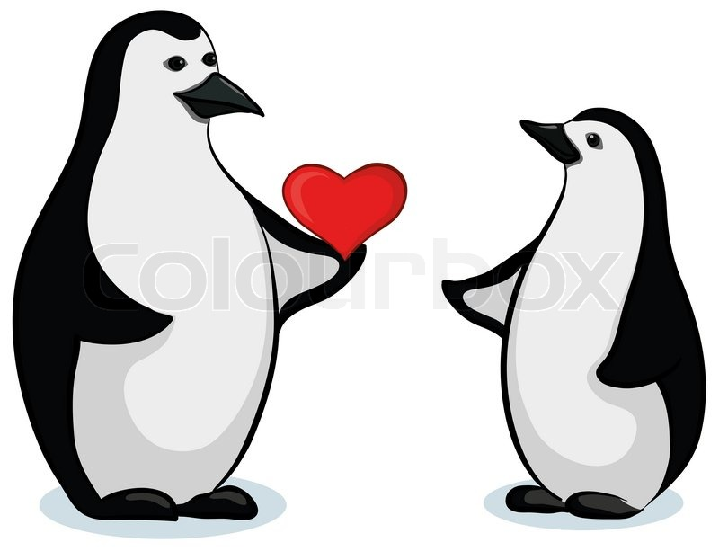 Antarctic Black And White Emperor Penguins With Valentine Red Heart | Stock  Photo | Colourbox