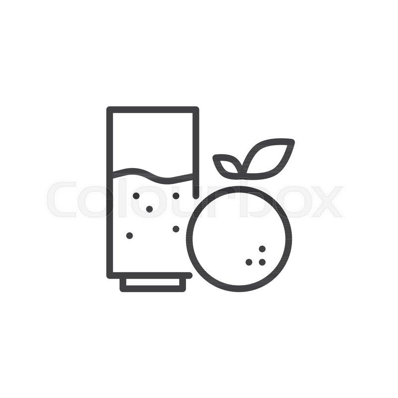 Orange juice glass outline icon      | Stock vector | Colourbox