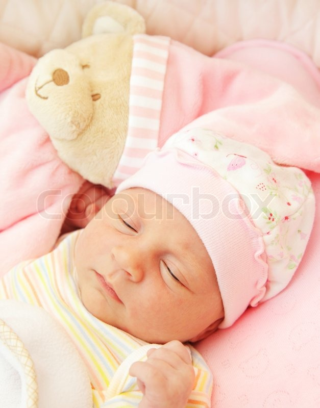 Cute Little Baby Sleeping In Pink Stock Photo Colourbox