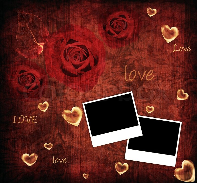 rote rosen valentine card urlaub hintergrund mit bilderrahmen herz liebe text stockfoto. Black Bedroom Furniture Sets. Home Design Ideas