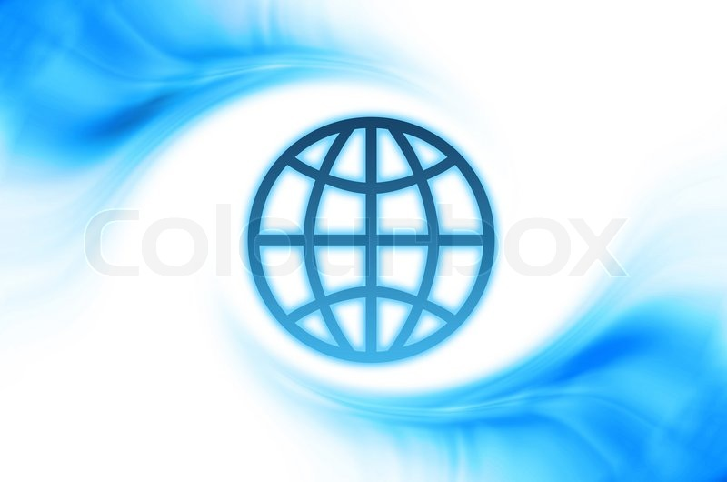 Stock image of 'Abstract business background with blue curved waves and globe frame'