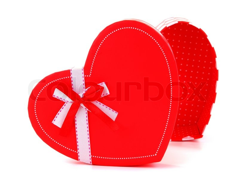 image of red heart romantic gift box isolated on white background