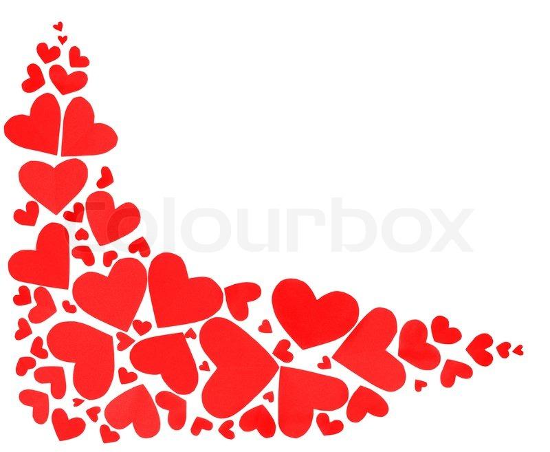 Hearts Corner Border Red hearts border of many paper hearts isolated ...