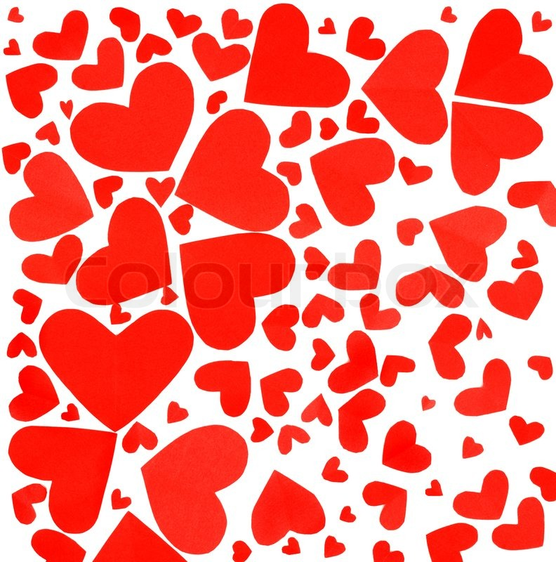 ... image of 'Red hearts background, many paper hearts isolated on white