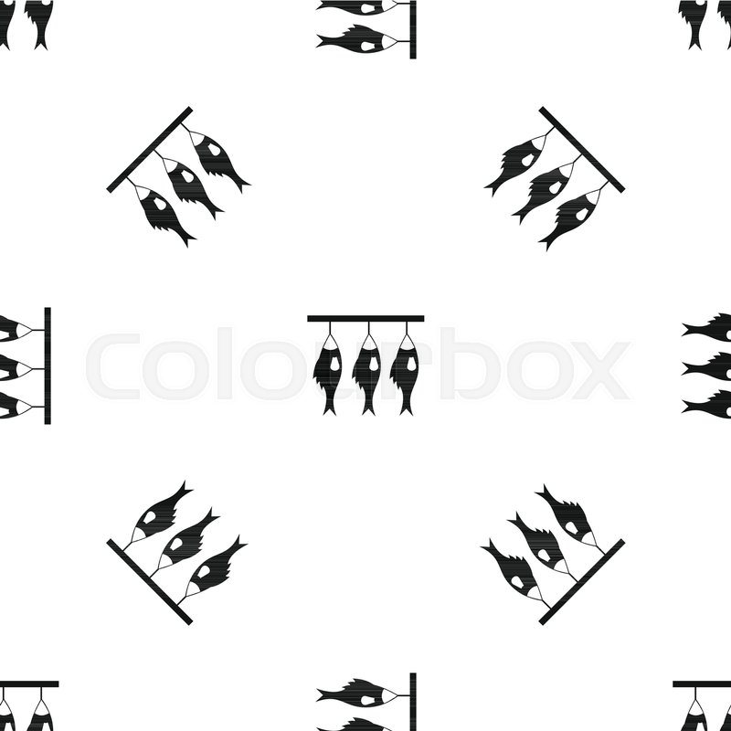 Three Dried Fish Hanging On A Rope Pattern Repeat Seamless In Black