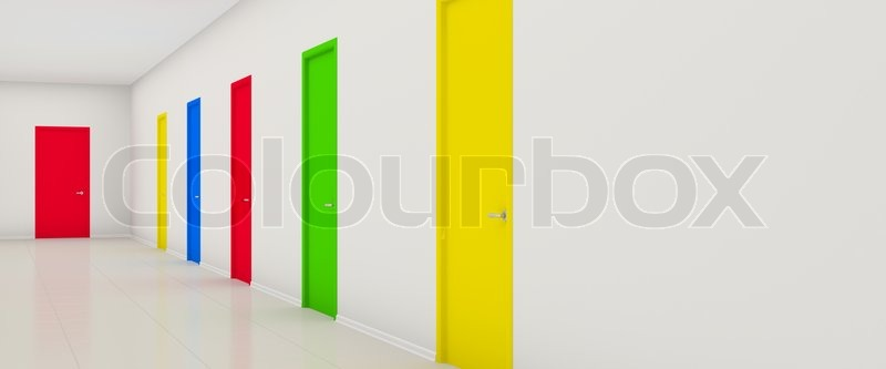 white long corridor with color doors | stock photo | colourbox