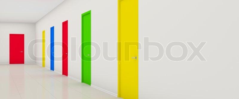 white long corridor with color doors | stock photo | colourbox