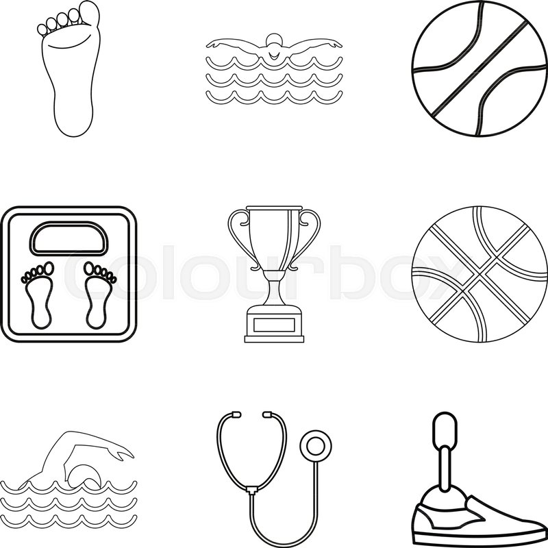 Sport doctor icons set. Outline set of 9 sport doctor vector icons ...