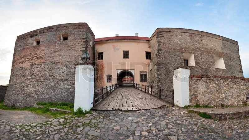 Stock image of 'View of bridge gate over the moat to old Zolochiv castle Ukraine, Lviv Region, Dutch style, built in 1634-36 by Jakub Sobieski'