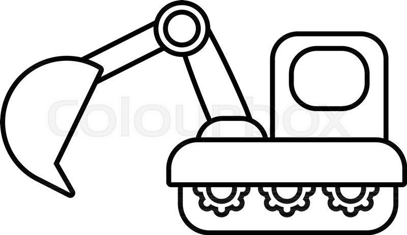 Excavator Icon Outline Illustration Of Vector For Web Design Isolated On White Background