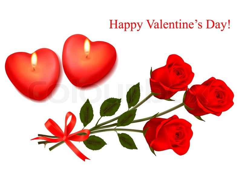 Valentine background. Red roses and two heart candles. | Stock ...