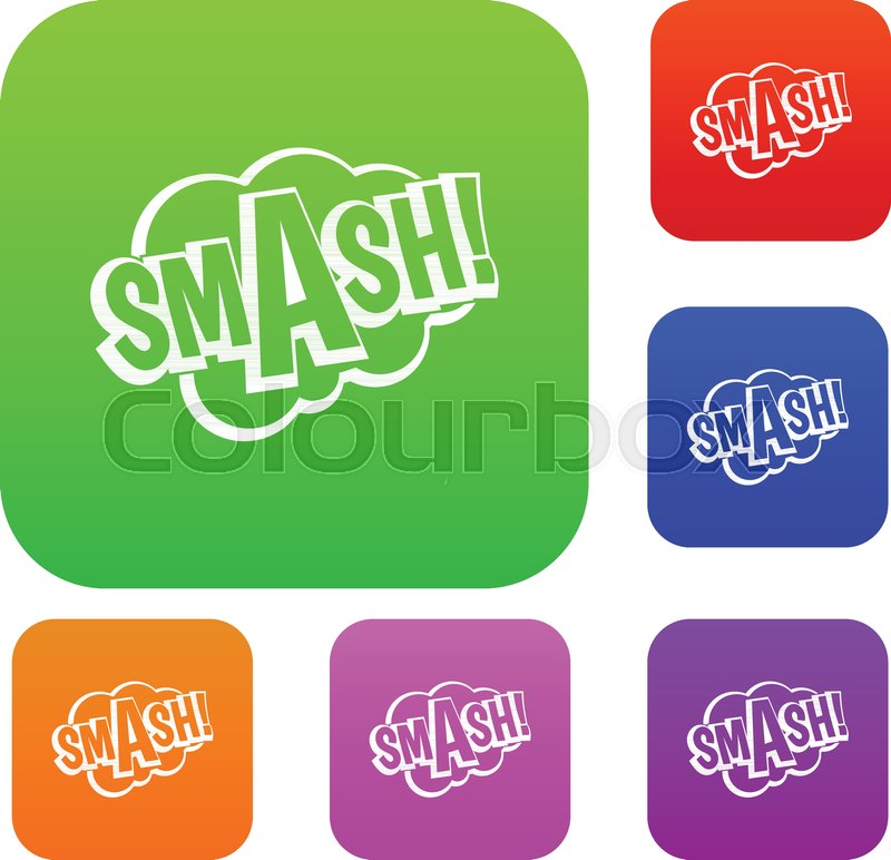 smash comic book bubble text set icon color in flat style isolated