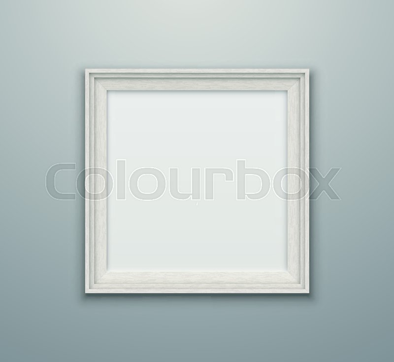 Blank white vector photo frame. Empty realistic square frame hanging ...