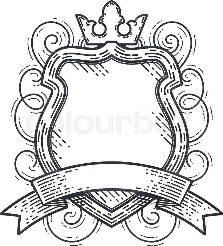 Black Baroque Shield Elements Vector: Vintage Empty Shield With A Crown And A Ribbon. Vector