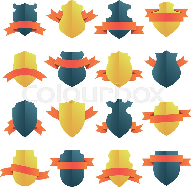 Bright vector shield insignias with red ribbons. Gold and black ...