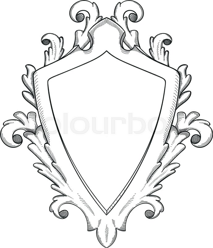 blank baroque shield with floral ornament and stroked shades hand drawn vintage heraldic. Black Bedroom Furniture Sets. Home Design Ideas