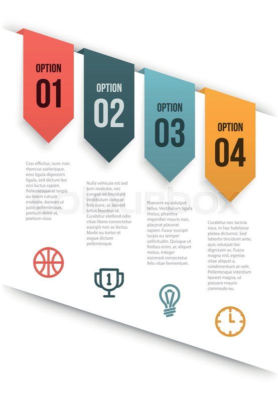 Simple Clean Vector Infographics Layout With Tags Hanging From A Cut Paper Sample Text And Icons Copy Spaces