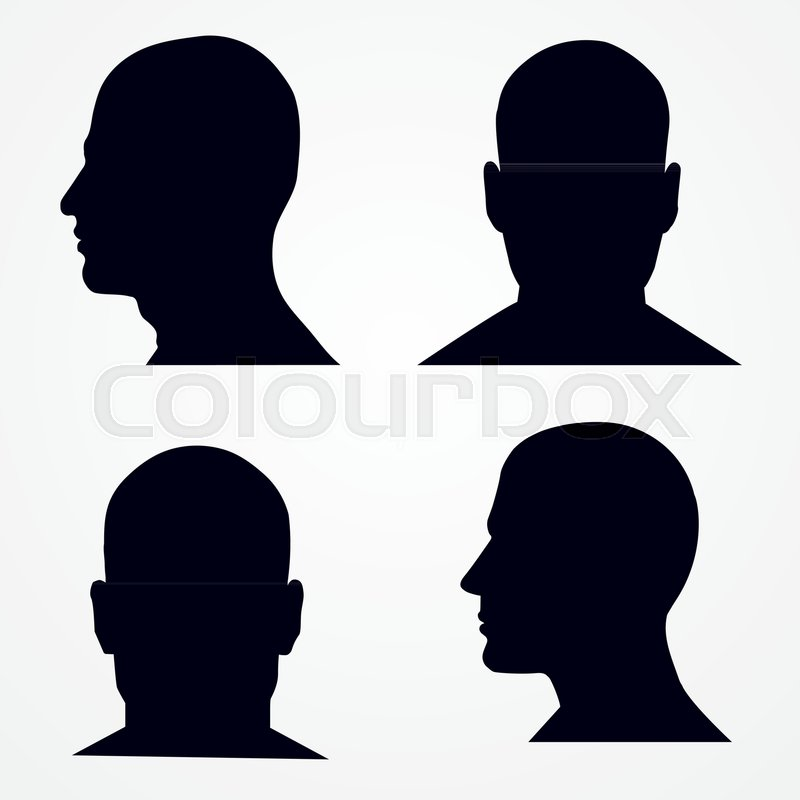 silhouette of a man s head side and front view vector set