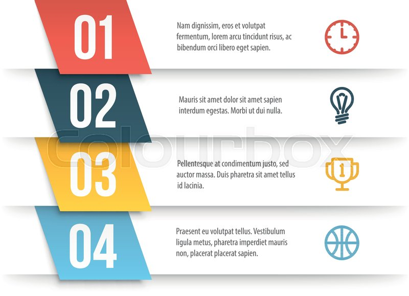 Simple Vector Numbered List Template On White Background Decorated Elementary Infographics Layout With Sample Text And Icons