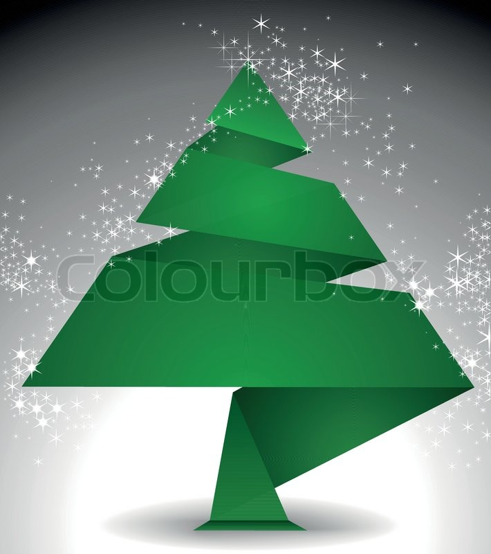 origami weihnachtsbaum aus gr nen papier auf einem dunklen hintergrund sternenhimmel. Black Bedroom Furniture Sets. Home Design Ideas