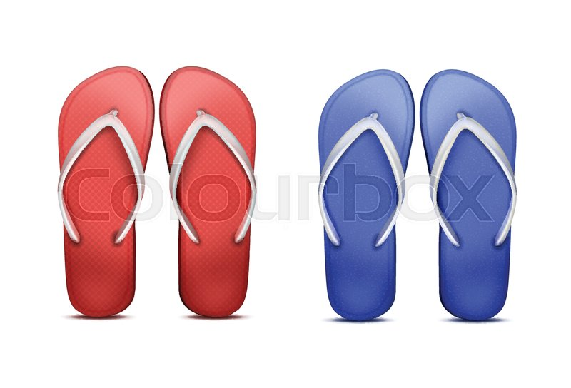 d5c82829e486 Vector two pair of red and blue beach flip-flops. Isolated on white  background