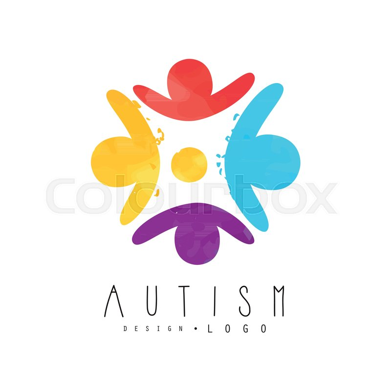 World Autism Awareness Day Logo Template With Human Silhouettes In