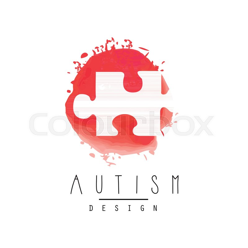 Abstract logo template with puzzle red textured emblem symbol of abstract logo template with puzzle red textured emblem symbol of down syndrome autism awareness day healthcare concept vector design for invitation maxwellsz