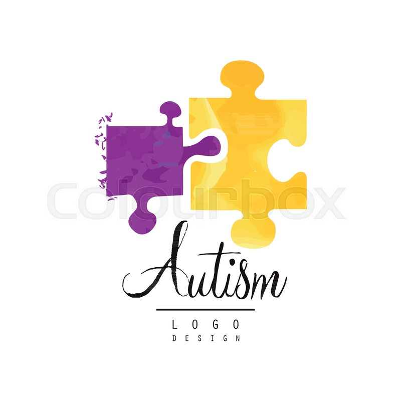 Creative Logo Template For Autism Awareness Day With Two Pieces Of