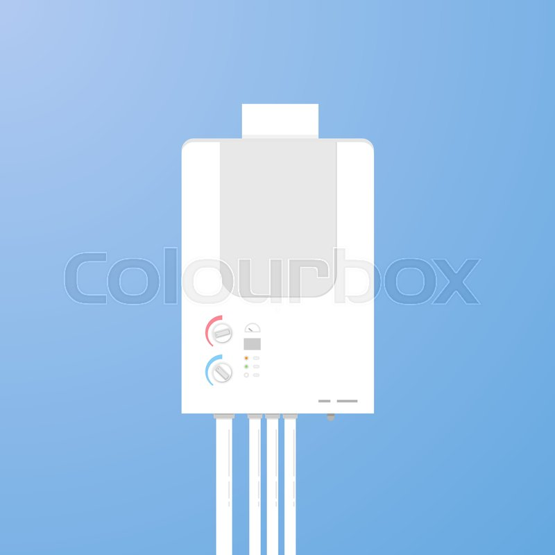 Gas boiler flat style illustration. House water heater. Hot and cold ...