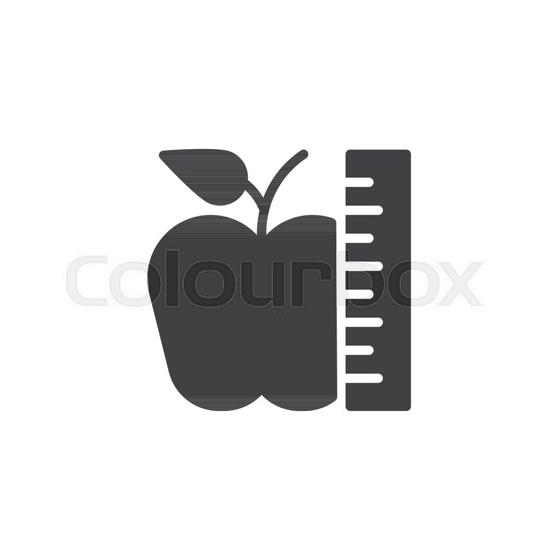 Apple And Ruler Vector Icon Filled Stock Vector Colourbox