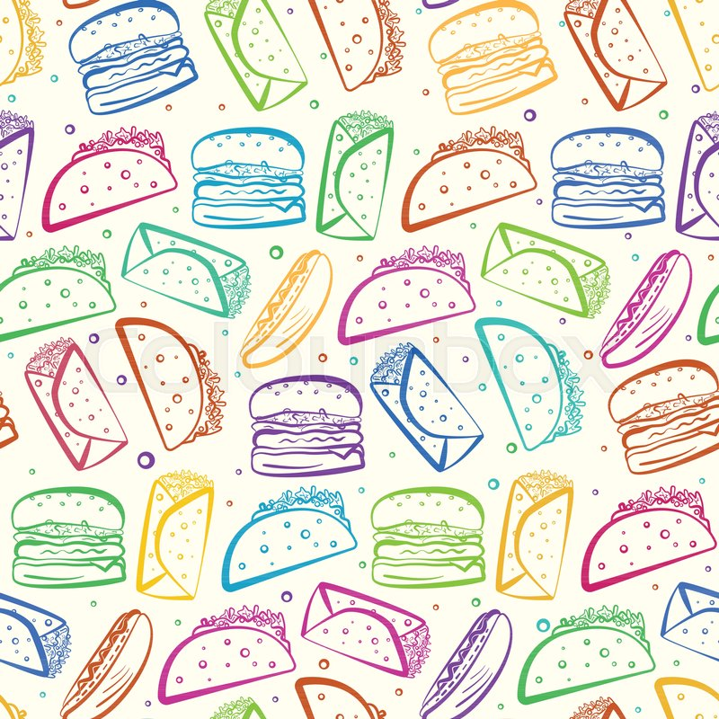 Cute Seamless Pattern With Colorful Outline Fast Food Symbols On