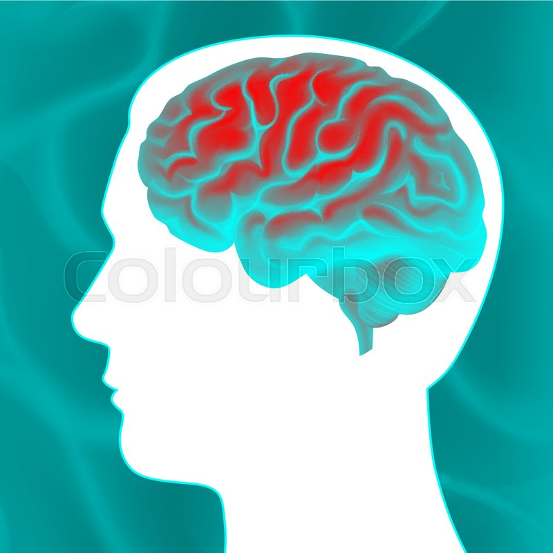 vector glowing turquoise human brain with white head silhouette side