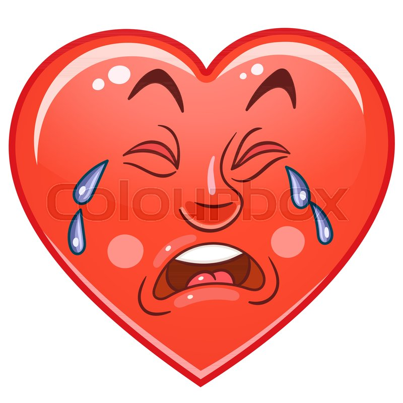 Cartoon Red Heart Cry. Emoticons. ...