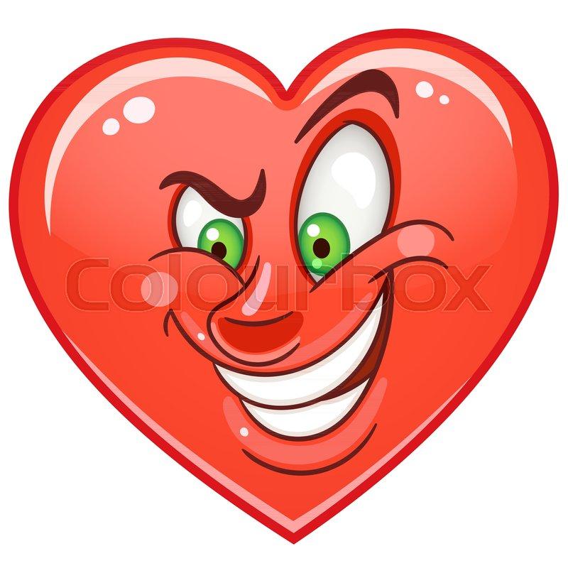 Cartoon Red Cunning Heart Emoticon Smiley Emoji Love Emotion