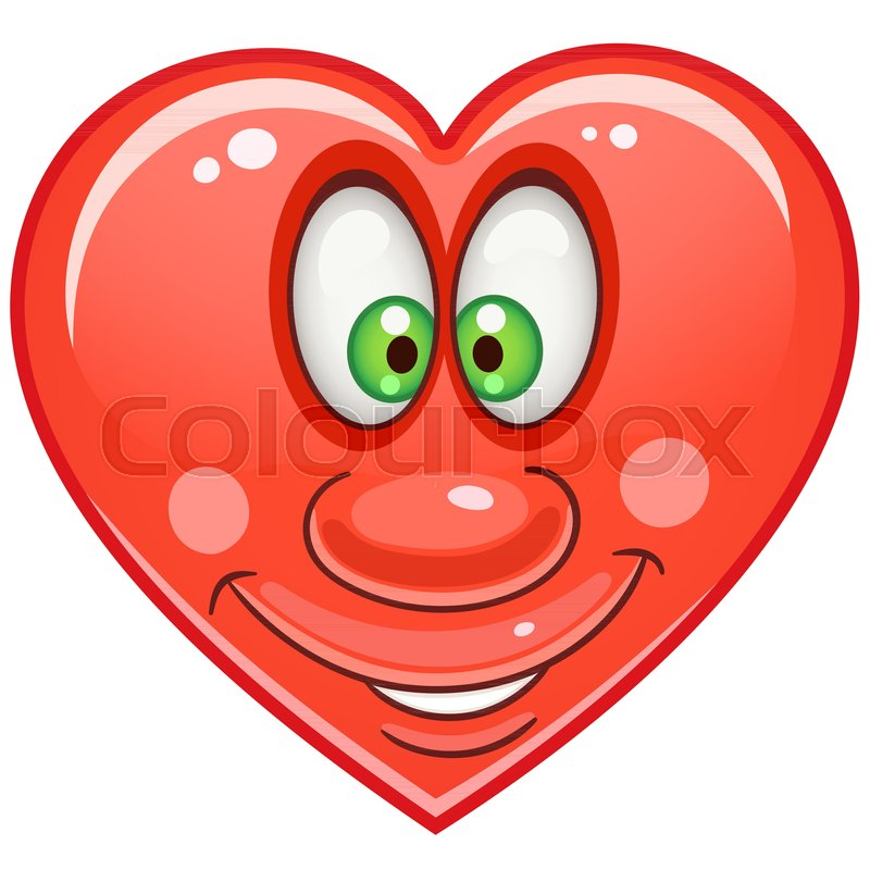 Cartoon Red Heart Emoticons Smiley Emoji Love Emotion Symbol