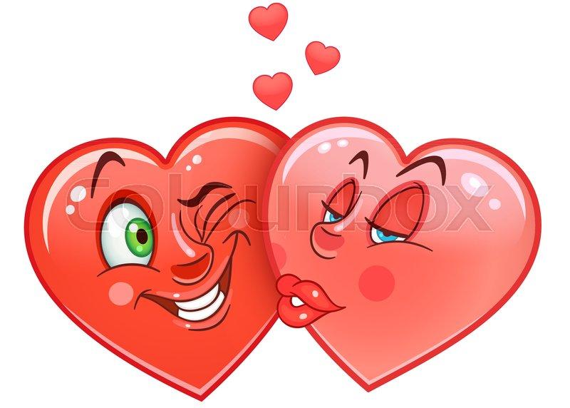 Cartoon Red Hearts Kiss Emoticons Smiley Emoji Love Emotion