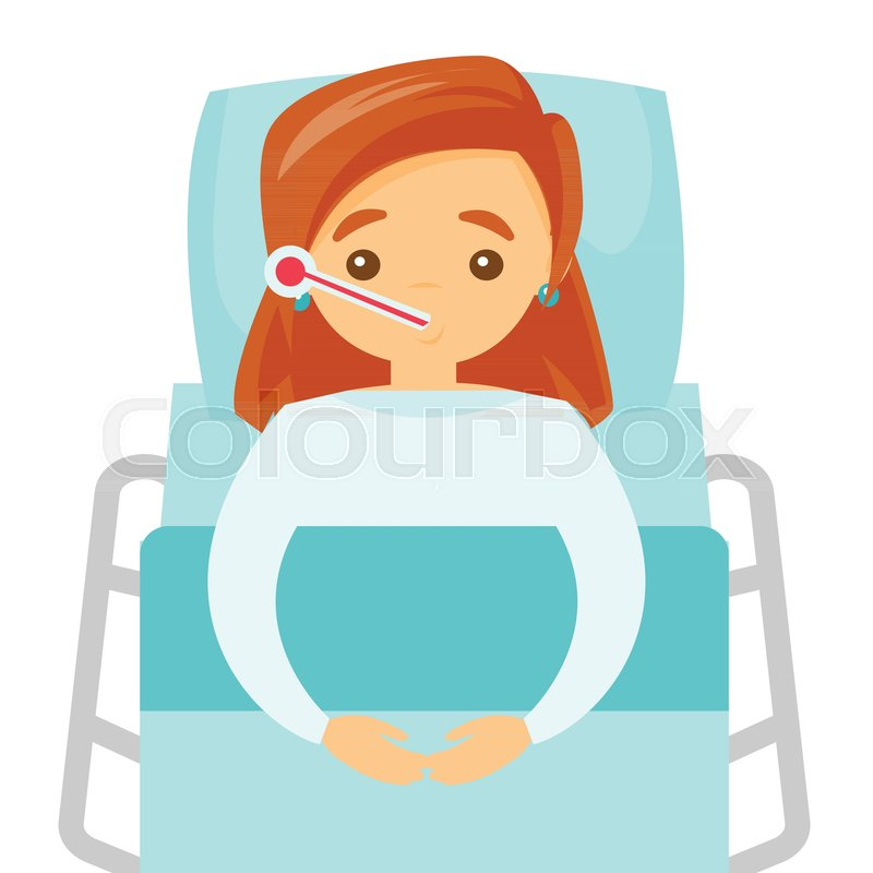 Sick Caucasian White Woman Laying In Hospital Bed. Sick Woman Measuring  Temperature With A Thermometer And Suffering From Cold. Vector Cartoon  Illustration ...