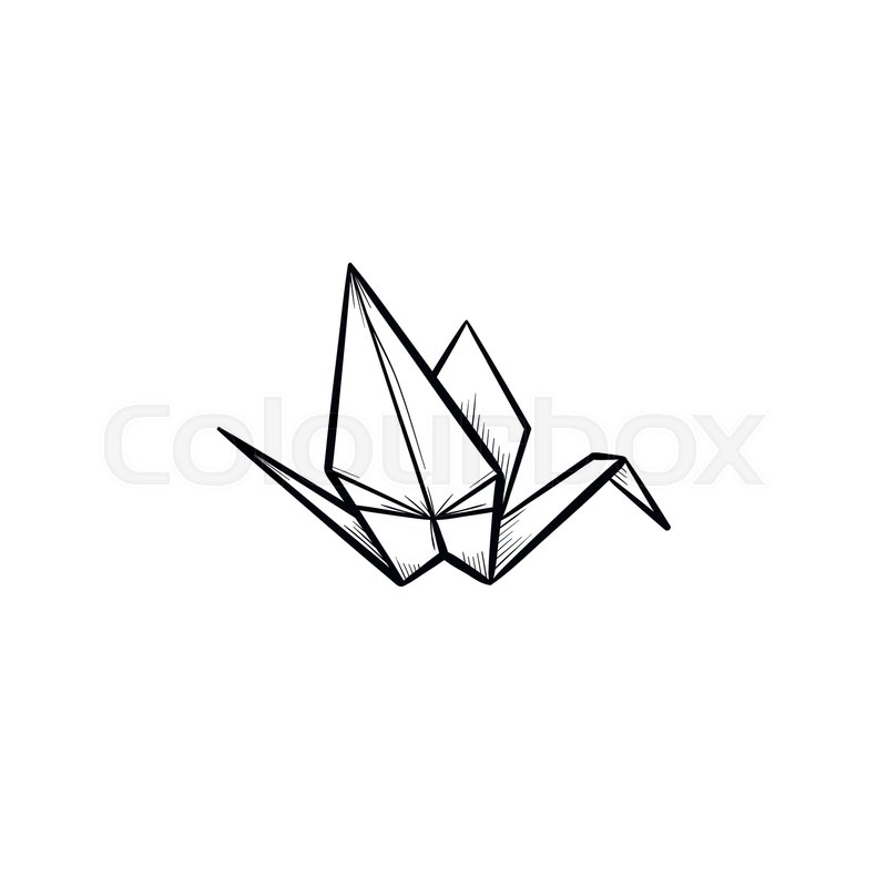 Origami Crane Hand Drawn Outline Doodle Icon Crane Origami Vector