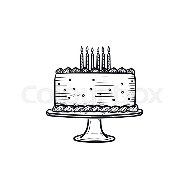 Birthday Cake Hand Drawn Outline Doodle Icon Vector Sketch
