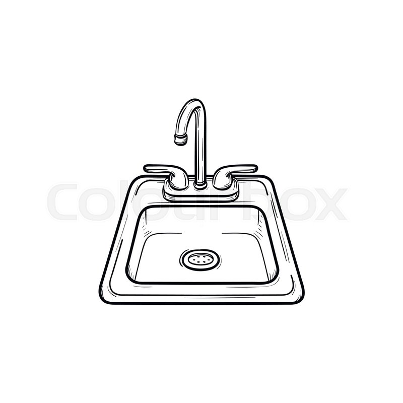 Toilet Sink Hand Drawn Outline Doodle Stock Vector