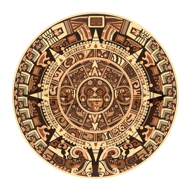 Maya Calendar Of Mayan Or Aztec Hieroglyph Signs And Symbols Vector