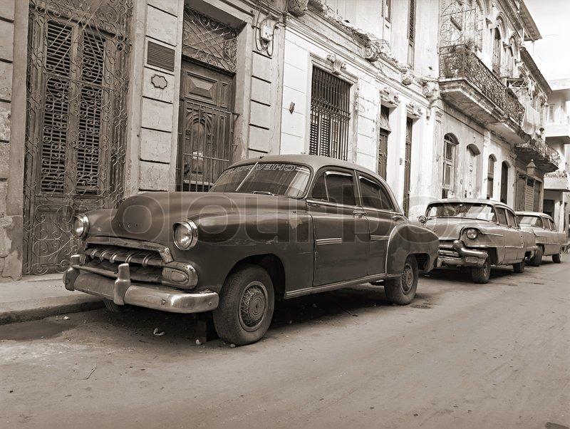 Classic old cars in Havana street | Stock Photo | Colourbox